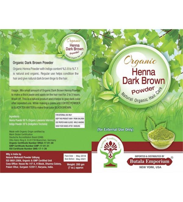Organic Dark Brown Henna for Hair