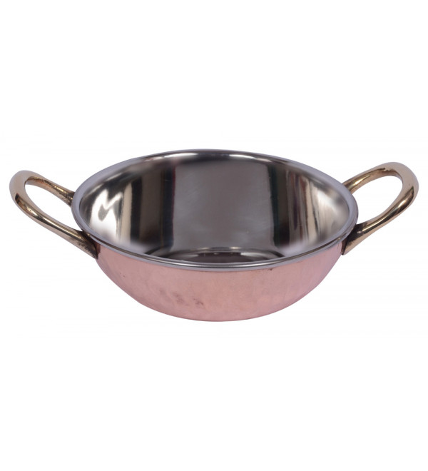 Copper SS Kadai with Brass Handle
