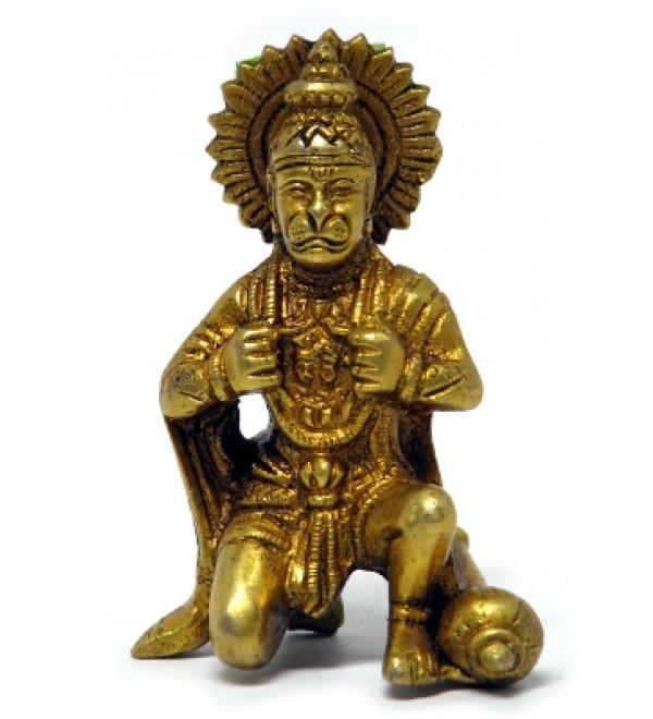 "Brass Hanuman 3 1/2"""