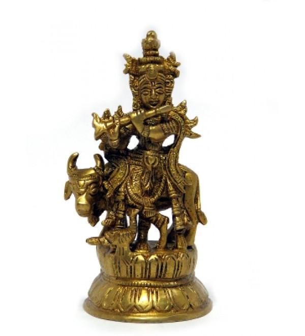 """Brass Krishna with Cow 4"""""""